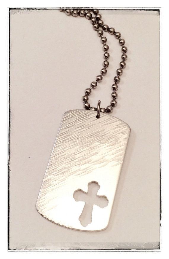 men 39 s dog tag cross necklace hand stamped personal. Black Bedroom Furniture Sets. Home Design Ideas