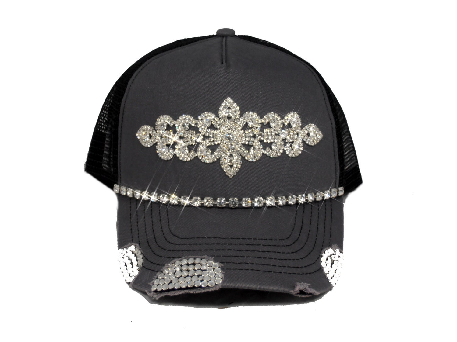 grey bling womens trucker hat by timetwochange on etsy