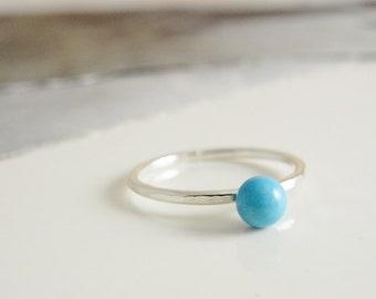 Turquise stacking silver ring. Stack ring.