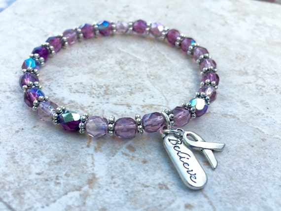 fibro bracelet lupus and fibromyalgia awareness bracelet believe ribbon 7237