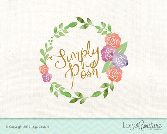 Premade Logo Design Calligraphy Watercolor Floral