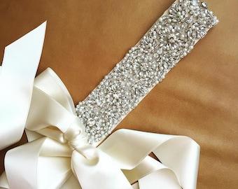 Pearl Wedding Sash - Prom Sash - ARKANSAS - BEST SELLER