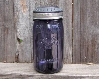 Mason Jar Solar Light - Purple Heritage Mason Jar Quart With Handmade Solar Light