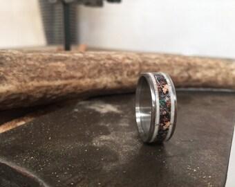 Mens Wedding Band Elk Antler & Camo Ring - Staghead Designs