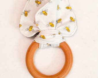 Limited Edition Organic Bees Teething Ring/Fabric Ear Combo