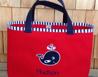 Kids Personalized Red Nautical Tote with Whale Design