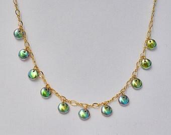 Aurora Borealis Lentil Bead Necklace