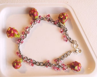 Dragonfruit Bracelet - Fruit jewelry - Fruit bracelet - Miniature Food Jewelry