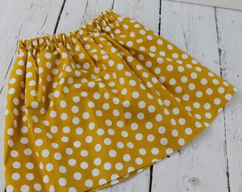 Mustard Polka Dot Baby Girl Skirt  Toddler Girls Skirt 1st Birthday Skirt Baby Girls Twirl Skirt Vacation Skirt Summer Fall Skirt