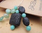 Lava Gemstone Necklace, Green Gemstone Pendant Necklace, Green Flourite Pendant, Green Hemimorphite Necklace, Necklace