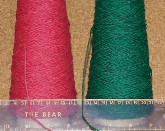100 gm cones of Dark Pink, Emerald Green & Khaki PURE WOOL - Great for Knitting (hand and machine), Weaving, Tapestry, Felting etc