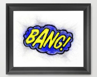Bang INSTANT DOWNLOAD, superhero text, decor, comics, Batman, birthday supplies, superhero theme, childrens room, decor