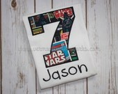 Professionally Embroidered Star Wars Birthday Shirt with or without name, message for Custom Order. #VermontCustomWorks