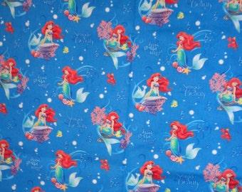 Blue Seaside Little Mermaid Cotton Fabric by the Yard