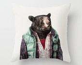 Black Bear Throw Pillow, Kids Room Pillow, Decorative Pillow, Animal Pillow, Animal Cushion, Decorative Cushion, Bear Cushion