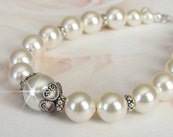 Bridesmaid Bracelet, Vintage Style, Antique Silver, Bridesmaid Jewelry, White, Ivory Pearl Bridesmaid Jewelry, Wedding Jewelry, Bridal Party