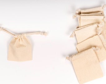 25 -- 3 x 4 Natural Cotton Muslin Drawstring Bags for Wedding Favors, Birthday Parties, Baby Showers & Candy Buffets