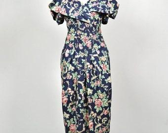 ON SALE Sarah Jessica Parker inspired rose print vintage party dress by Melanie Drucker for E.D. Michaels