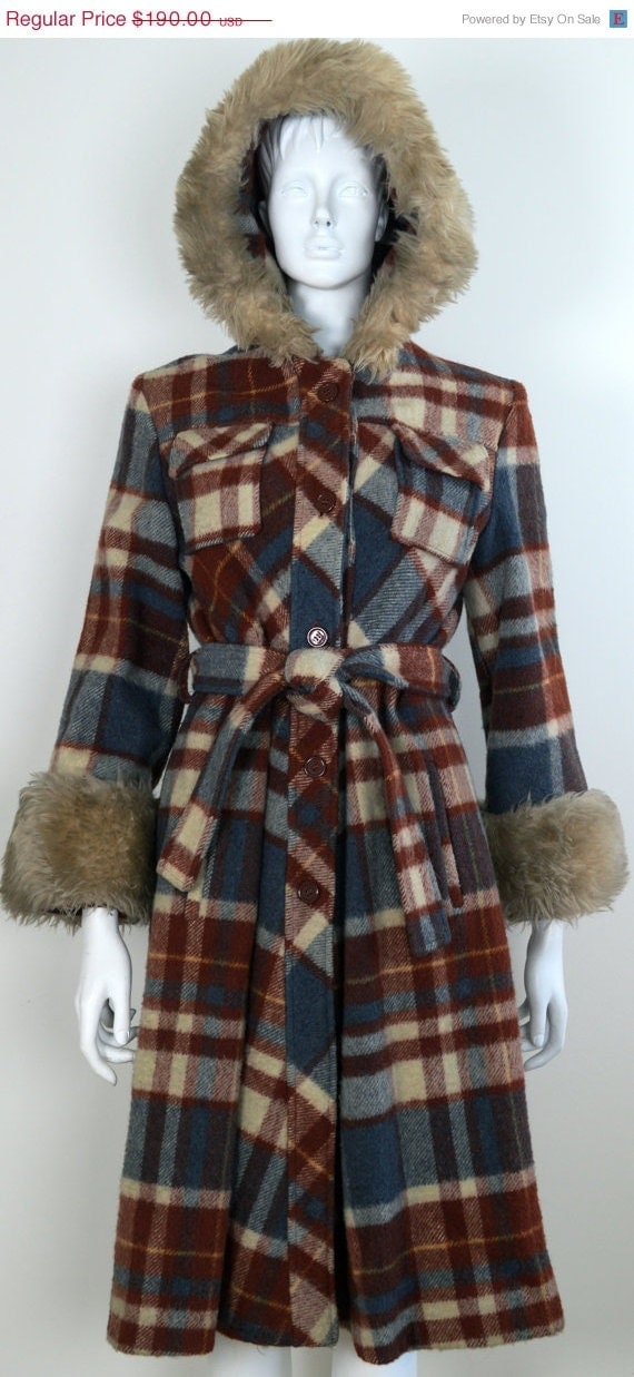 On Sale Wool Plaid 1960s Swing Coat With Faux Fur Trim Hooded