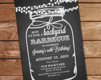 Chalkboard BBQ Birthday Invitation - Chalkboard Mason Jar Invitation - Instant Download and Edit File at home with Adobe Reader