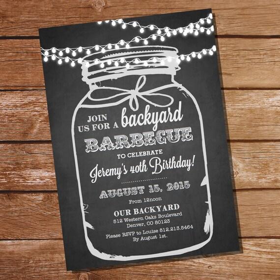 chalkboard bbq birthday invitation chalkboard mason jar invitation