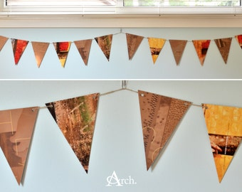 Pennant flag banner - brown, red and yellow patterns