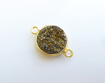 Gold Vermeil Bezel with Bronze Shaded Druzy Quartz Connector -- 1 Faceted Stone -- 11mm Link