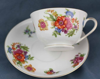 Hand Painted Orange and Pink Floral Teacup and Saucer Set, Kongo China, Pink Blue Tea Cup, Tea Party Decor