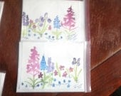 Original hand painted watercolor field of Alaskan wildflowers