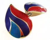 Vintage 80's Red Purple & Emerald Blue Teardrop Shaped Pierced Earrings