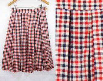"Vintage 60's Red White & Blue Checker Pleated Skirt 25"" Waist"