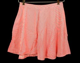 "10 DOLLAR SALE---Vintage 80's Red & White Striped Mini Micro Circle Skirt 26"" Waist"