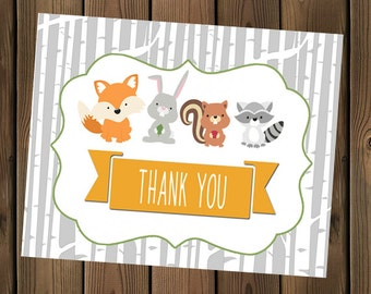 Forest Animal Baby Shower Thank You card with Birch Wood, INSTANT DOWNLOAD, Digital File, Printable