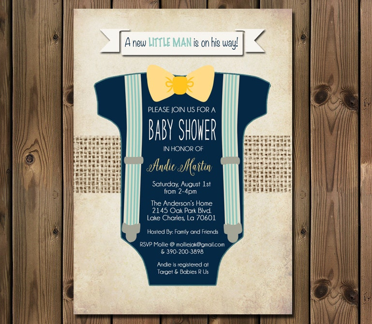 Boy Baby Shower Invitation Blue Onesie Bow Tie Suspenders