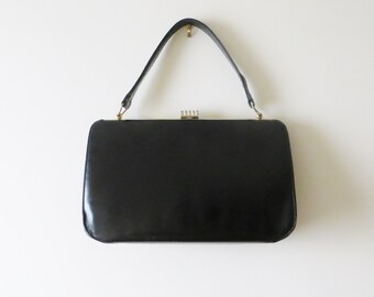 80s Black Shoulder Bag Kisslock Frame Faux Leather Handbag Women Vintage Accessories
