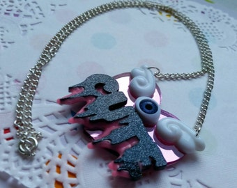 Super drippy CUTE heart necklace - Creepy Cute, Pastel Goth