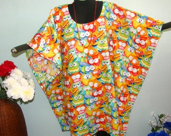 Owl Tunic Dress or Poncho - Plus Size Full Figure - Grandma or teacher gift