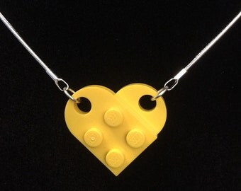 Yellow heart Lego necklace on 16 inch chain