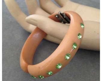 Butterscotch Clamper Bracelet, Light Green Rhinestones, Great Colors