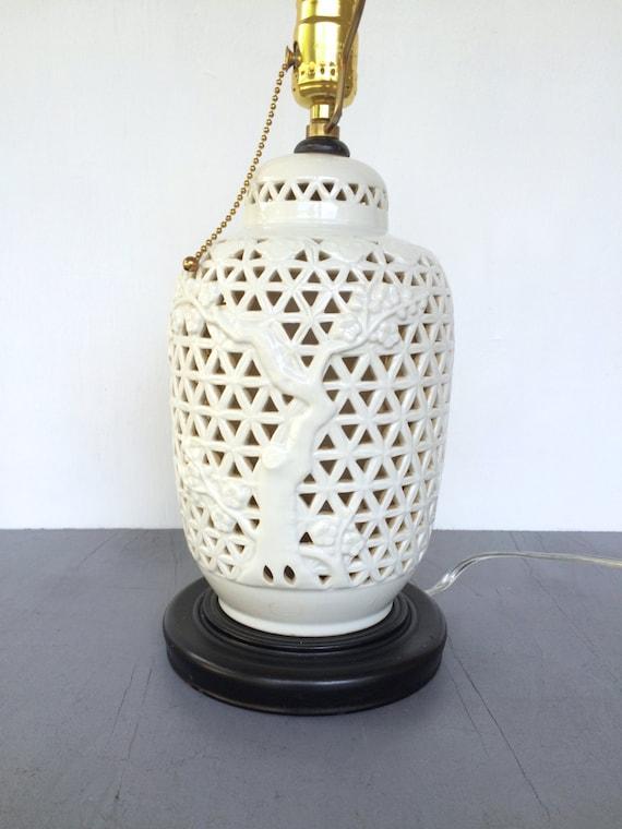 Vintage Blanc De Chine Table Lamp White Porcelain Pierced