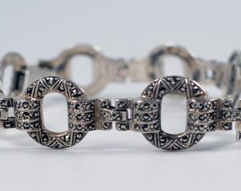 Silver Marcasite Bracelet, Vintage Art Deco Style Solid Sterling Silver Marcasite Link Bracelet Signed