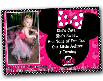 Minnie Mouse Invitations, Minnie Mouse Birthday, Pink Minnie Mouse invitations, Minnie Mouse party, or Minnie Mouse Thank you card