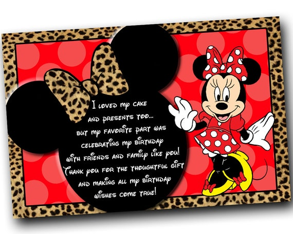 Minnie Mouse Thank you card Minnie Mouse Birthday Red Minnie