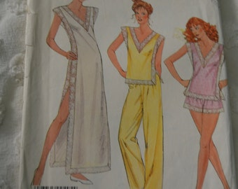 McCalls 2496 Misses Nightgown and Pajamas sewing Pattern - UNCUT - Sizes Small (10-12)