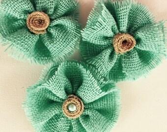 Set of three..seafoam green burlap flowers