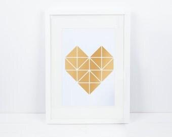 """""""Artprint, origami heart gold"""""""