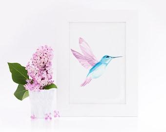 """Postcard, mosaic Hummingbird"""