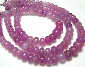 """Natural Pink Sapphire Smooth Big Rondelle- 8"""" Strand -Stones measure- 5-7mm"""