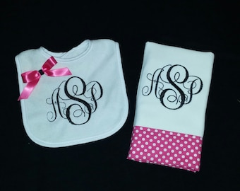 Girls Personalized Bib and Burp Cloth Set