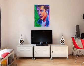 John Travolta Grease Portrait Giclee Canvas Artist Print Wall Art Colorful Abstract Pop Art